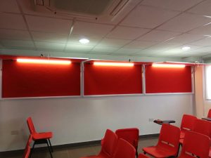 Customized  red felt noticeboard with hydraulic gas hinge with doors and whiteboard base & lighting